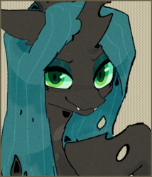 Size: 1280x1498 | Tagged: safe, artist:catment, queen chrysalis, changeling, changeling queen, pony, female, smiling, solo
