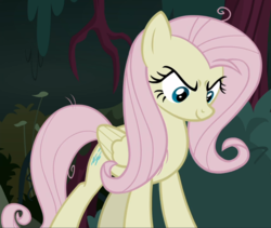 Size: 1112x938 | Tagged: safe, screencap, mean fluttershy, pegasus, pony, the mean 6, clone, cropped, evil grin, female, grin, looking down, mare, smiling, solo