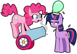 Size: 2000x1400 | Tagged: artist:provolonepone, balloon, duo, earth pony, female, mare, party cannon, pinkie pie, pony, safe, simple background, transparent background, twilight is not amused, twilight sparkle, unamused, unicorn, unicorn twilight