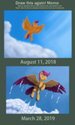 Size: 603x1000 | Tagged: artist:redquoz, bird pone, bird tail, cloud, comparison, draw this again, eyes closed, female, mare, pegasus, pony, redraw, safe, scootaloo, scootaloo can fly, smiling, solo, two toned wings, unshorn fetlocks