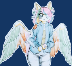 Size: 1200x1099 | Tagged: artist:pantheracantus, clothes, colored, cute, glasses, jeans, oc, oc only, pants, pegasus, safe, semi-anthro, short hair, simple background, traditional art, wings