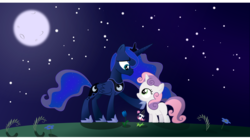 Size: 1024x574 | Tagged: safe, artist:atnezau, artist:hawk9mm, artist:itash, artist:misteraibo, artist:plsim, princess luna, sweetie belle, alicorn, pony, unicorn, duo, female, filly, flower, grass, mare, moon, night, smiling, stars, tulip