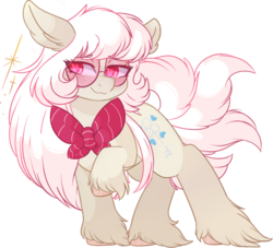 Size: 3298x2988 | Tagged: safe, artist:drawtheuniverse, oc, oc only, oc:nemo von silver, earth pony, pony, bow, glasses, unshorn fetlocks