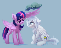 Size: 2664x2124 | Tagged: alicorn, alicorn oc, artist:taneysha, caring, cute, dark cloud, duo, high res, looking at each other, oc, oc:wishing star, pony, safe, sitting, teary eyes, twilight sparkle, twilight sparkle (alicorn), wing umbrella