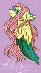 Size: 850x1499   Tagged: safe, artist:hhanimal, fluttershy, pegasus, pony, bust, cheek fluff, chest fluff, colored wings, ear fluff, face paint, female, folded wings, looking up, mare, name, profile, smiling, solo, wings