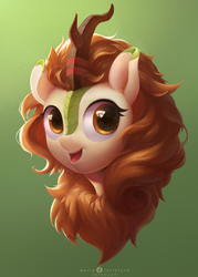 Size: 1879x2625 | Tagged: safe, artist:weird forthfona, autumn blaze, kirin, sounds of silence, awwtumn blaze, bust, chest fluff, colored pupils, cute, female, fluffy, gradient background, green background, head, head only, looking at you, open mouth, portrait, simple background, smiling, solo, starry eyes, wingding eyes