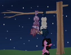 Size: 485x375 | Tagged: safe, artist:moonlightdisney5, oc, oc:caspian, oc:moonlight, oc:pastel shores, pony, glowing eyes, hanging, male, prehensile tail, species:fetsharks