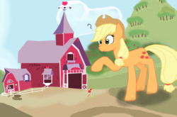 Size: 8031x5303 | Tagged: apple bloom, apple family, applejack, artist:mr100dragon100, big-apple-pony, big macintosh, confused, giant pony, granny smith, macro, mega applejack, pony, safe