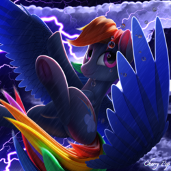 Size: 4000x4000   Tagged: safe, artist:cherry pop, rainbow dash, pegasus, pony, 3d, absurd resolution, blender, blender cycles, cloud, female, flying, lightning, looking at you, mare, procreate app, rain, solo, storm, subsurface scattering