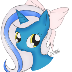 Size: 900x900 | Tagged: adorable face, alicorn, alicorn oc, artist:overlordtimothy, bow, cute, female, hair bow, happy, long hair, long mane, mare, oc, oc:fleurbelle, pony, ribbon, safe, sweet, yellow eyes