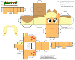 Size: 2979x2354 | Tagged: applejack, artist:grapefruitface1, arts and crafts, craft, cubeecraft, papercraft, part of a set, pony, printable, safe, solo