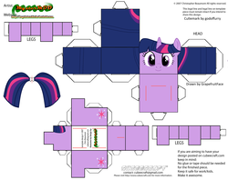 Size: 2979x2354 | Tagged: artist:grapefruitface1, arts and crafts, craft, cubeecraft, papercraft, part of a set, pony, printable, safe, solo, twilight sparkle