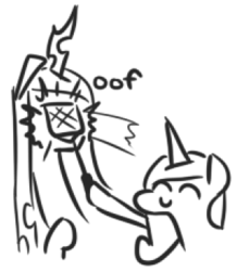 Size: 305x350   Tagged: safe, artist:jargon scott, princess cadance, queen chrysalis, alicorn, changeling, changeling queen, pony, c:, eyes closed, female, flyswatter, hitting, hoof hold, lineart, mare, monochrome, oof, simple background, sketch, smiling, white background