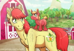 Size: 1600x1106 | Tagged: apple tree, artist:inuhoshi-to-darkpen, barn, big macintosh, bright mac, colt, colt big macintosh, cowboy hat, cute, father and son, freckles, hat, looking back, macabetes, male, pony, safe, stallion, stetson, sweet apple acres, tiny mac, tree