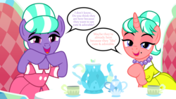 Size: 3550x2000 | Tagged: artist:tomfraggle, clothes, cup, dialogue, dress, earth pony, lidded eyes, looking at you, open mouth, pony, safe, simple background, speech bubble, stepford ponies, table, teacup, transparent background, unicorn, what lies beneath