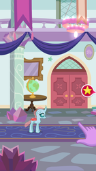 Size: 720x1280 | Tagged: safe, ocellus, twilight sparkle, equestria girls, game screencap, hand, pocket ponies