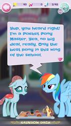 Size: 720x1280 | Tagged: safe, ocellus, rainbow dash, bedroom eyes, game screencap, pocket ponies