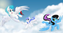 Size: 1600x860   Tagged: safe, artist:itstaylor-made, oc, oc only, oc:snow pup, unnamed oc, pegasus, pony, cloud, flying, nameless oc, smiling, wings