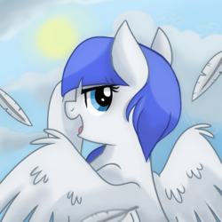 Size: 400x400   Tagged: safe, artist:itstaylor-made, oc, oc:snow pup, pegasus, pony, cloud, feather, flying, profile picture, sun, wings