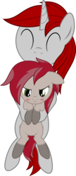 Size: 2000x4642 | Tagged: safe, artist:waveywaves, oc, oc only, oc:chamber, oc:waves, pony, blushing, cuddling, freckles, happy, simple background, socks (coat marking), transparent background, unhappy