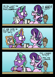Size: 4437x6269 | Tagged: safe, artist:bobthedalek, firelight, starlight glimmer, pony, unicorn, absurd resolution, chocolate milkshake, comic, cup, diner, duo, father and daughter, fathers gonna father, female, kite, male, mare, meme, menu, milkshake, smiling, smirk, stallion, teacup, that pony sure does love kites, unamused