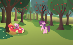 Size: 1540x960 | Tagged: apple tree, artist:swiftgaiathebrony, big macintosh, cheerilee, cheerimac, female, friendzone, implied sugarmac, male, pony, safe, shipping, straight, sugar belle, tree