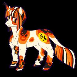 Size: 900x900 | Tagged: safe, artist:guidomista, artist:miiistaaa, artist:nijimillions, oc, oc:maneki, pony, unicorn, cloven hooves, colourful, curved horn, design, eyelashes, female, golden eyes, hooves, horn, japanese, leonine tail, long horn, looking at you, luck, lucky, lucky cat, maneki neko, mare, markings, multicolored hair, multicolored tail, reference, reference sheet, simple background, spots, spotted, standing, straight hair, straight mane, streaked mane, striped mane, striped tail, transparent background, white, yellow eyes