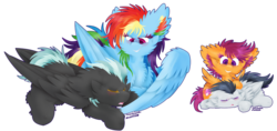 Size: 1024x484 | Tagged: artist:vanillaswirl6, colt, feather, floppy ears, fluffy, lineless, male, mouth hold, open mouth, pegasus, photoshop, pony, rainbow dash, rumble, safe, scootaloo, sleeping, stallion, thunderlane, wings