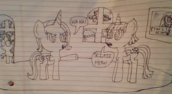 Size: 869x476 | Tagged: alicorn, alicornified, artist:nightshadowmlp, cloud, dialogue, lined paper, misspelling, picture, race swap, rainbow dash, safe, shocked, sleeping, starlight glimmer, stylistic suck, text, traditional art, trixie, trixiecorn, twilight sparkle, twilight sparkle (alicorn), wall, window