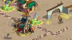 Size: 778x439 | Tagged: safe, capper dapperpaws, murdock, parrot pirates, my little pony: the movie, earnest klugetowner, gameloft, gameloft shenanigans, klugetown, magic, pirate, squabble