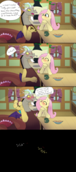 Size: 1280x2880 | Tagged: artist:fuzzypones, blushing, colored, comic, crackers, dialogue, discord, discoshy, female, fluttershy, fluttershy's cottage (interior), food, fourth wall, giggling, implied kissing, male, safe, shipping, straight, tea