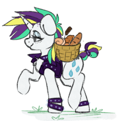 Size: 2377x2414 | Tagged: safe, artist:spoopygander, rarity, pony, unicorn, alternate hairstyle, basket, chest fluff, clothes, female, food, horn, jacket, lidded eyes, mare, mohawk, multicolored hair, profile, punk, raised hoof, raripunk, smiling, solo, spiked wristband, walking, wristband