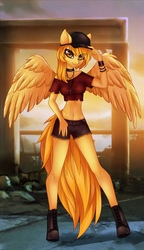Size: 624x1080   Tagged: safe, artist:pink-pinktooth, oc, oc:firetale, pegasus, anthro, unguligrade anthro, cap, clothes, collar, female, hat, looking at you, rosary, shorts, smiling, solo