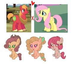 Size: 1427x1278 | Tagged: safe, artist:kittystar614, edit, edited screencap, screencap, big macintosh, fluttershy, oc, earth pony, pegasus, pony, baby, baby pony, blank flank, blushing, bow, cowboy hat, female, filly, fluffy hair, fluttermac, foal, freckles, hair bow, hat, heart, male, offspring, parent:big macintosh, parent:fluttershy, parents:fluttermac, screencap reference, shipping, straight, tail bow, unshorn fetlocks