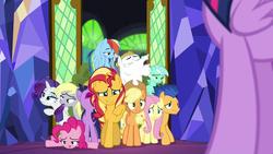Size: 1920x1080   Tagged: safe, screencap, applejack, bulk biceps, derpy hooves, flash sentry, fluttershy, lyra heartstrings, pinkie pie, rainbow dash, rarity, sci-twi, sunset shimmer, twilight sparkle, alicorn, pony, unicorn, equestria girls, equestria girls series, spring breakdown, spoiler:eqg series (season 2), equestria girls ponified, it happened, twilight sparkle (alicorn), twolight, unicorn sci-twi