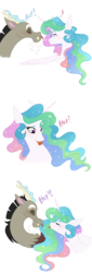 Size: 766x2250 | Tagged: safe, artist:sunbutt-worshipper, discord, princess celestia, :p, dislestia, female, male, shipping, silly, smiling, straight, tongue out