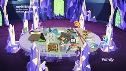 Size: 1920x1080 | Tagged: safe, screencap, boneless, mr. turnip, rainbow dash, sci-twi, spike, sunset shimmer, twilight sparkle, alicorn, dragon, pegasus, pony, unicorn, equestria girls, equestria girls series, spring breakdown, spoiler:eqg series (season 2), alicorn amulet, book, candle, crown, cutie map, dice, equestria girls ponified, feather, friendship throne, glowpaz, jewelry, lantern, quill, regalia, rubber chicken, scroll, self ponidox, staff, staff of sameness, twilight sparkle (alicorn), unicorn sci-twi