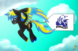 Size: 4600x3000 | Tagged: safe, artist:midnightfire1222, oc, oc:arc flash, pegasus, pony, banner, cloud, flying, reefsmart, sky, sky background, solo