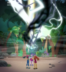 Size: 1632x1774 | Tagged: safe, composite screencap, edit, edited screencap, screencap, rainbow dash, sci-twi, sunset shimmer, twilight sparkle, equestria girls, equestria girls series, spring breakdown, spoiler:eqg series (season 2), beach, magic, panorama, sand, staff, staff of sacanas, tree