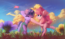 Size: 4001x2399 | Tagged: alicorn, artist:freeedon, bird, boop, chest fluff, cloud, colt, cute, dock, dragon, ear fluff, earth pony, eyes closed, female, field, filly, floppy ears, flower, grass, happy, hoof hold, kite, male, mouth hold, oc, oc:bender watt, ocbetes, oc:holivi, oc only, open mouth, plot, raised hoof, safe, scenery, sky, smiling, tail fluff