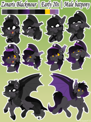 Size: 4000x5333 | Tagged: artist:asashine, bat pony, bat pony oc, blushing, cape, clothes, collar, costume, cute, dyed mane, dyed tail, ear piercing, eyeshadow, fangs, grin, hat, makeup, male, mask, mugshot, oc, oc:zenarisblackmour, piercing, pony, reference sheet, safe, smiling, stallion, wings