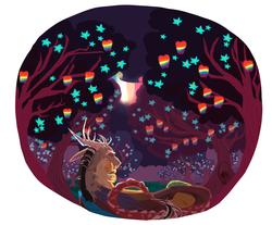 Size: 1966x1624 | Tagged: safe, artist:eqq_scremble, derpibooru exclusive, applejack, discord, draconequus, earth pony, pony, eqqverse, apple, apple tree, applecord, aurora borealis, cuddling, evening, female, food, glow, headcanon, lineless, male, mare, shipping, straight, tree, zap apple, zap apple flower, zap apple tree