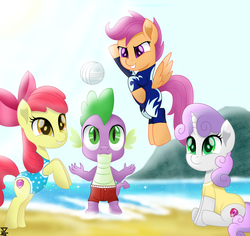 Size: 6900x6500 | Tagged: absurd res, apple bloom, artist:theretroart88, beach, clothes, cutie mark crusaders, dragon, earth pony, female, male, ocean, one-piece swimsuit, pegasus, pony, safe, sand, scootaloo, spike, sports, sweetie belle, swimsuit, unicorn, volleyball