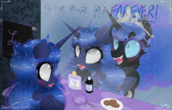 Size: 3500x2250 | Tagged: artist:darkest-lunar-flower, bathroom, cookie, fog, food, lavender, mirror, nightmare moon, princess luna, safe, scared, shampoo, towel