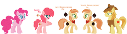 Size: 1959x522 | Tagged: artist:1313jaysong1313, base used, braeburn, braepie, colored pupils, earth pony, family, female, male, mare, oc, oc:ace huckleberry pie, oc:apple pie, oc:spade bumbleberry pie, offspring, parent:braeburn, parent:pinkie pie, parents:braepie, pinkie pie, pony, safe, shipping, simple background, stallion, straight, white background
