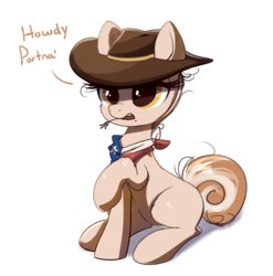 Size: 1322x1339   Tagged: safe, artist:ravensunart, oc, oc:cinnamon spangled, earth pony, pony, bandana, colored sketch, cowboy hat, dialogue, female, hat, mare, simple background, solo, straw in mouth, transparent background