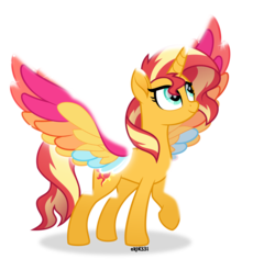 Size: 5000x4725 | Tagged: absurd res, alicorn, alicornified, artist:orin331, colored wings, equestria girls, female, mare, movie accurate, multicolored wings, my little pony: the movie, pony, race swap, rainbow wings, safe, shimmercorn, simple background, smiling, solo, spoiler:rainbow roadtrip, sunset shimmer, transparent background, vector