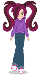 Size: 2700x4850 | Tagged: artist:razethebeast, clothes, equestria girls, female, hair over one eye, hoodie, looking at you, oc, oc only, oc:scarlett, pants, safe, simple background, smiling, solo, succubus, transparent background