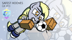Size: 1920x1080 | Tagged: safe, artist:ashtoneer, derpy hooves, pegasus, pony, 4chan, 4chan cup, clothes, female, football, goalie, goalkeeper, jersey, mare, paper bag, safest hooves, shoes, solo, sports, text, wallpaper, zoom layer