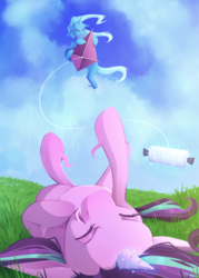 Size: 2680x3741 | Tagged: safe, artist:jellynut, starlight glimmer, trixie, pony, unicorn, cloud, eyes closed, female, grass, kite, laughing, magic, mare, on back, sky